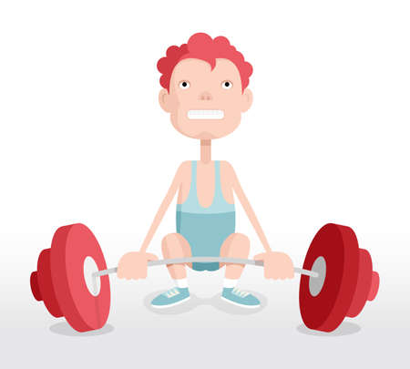 Weightlifter, man with barbell, vector cartoon illustration