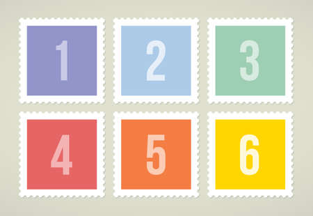 Six colorful stamps with numbers, vector illustration