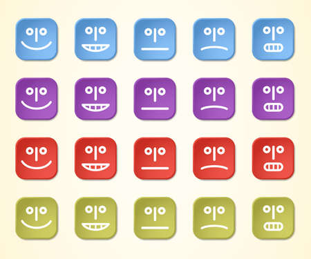 Emoticons in four colors, vector 3D illustration