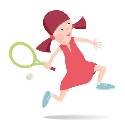 Girl in a red dress playing tennis, vector cartoon illustration Vector