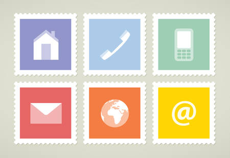 Six colorful stamps with symbols, vector illustration, flat style