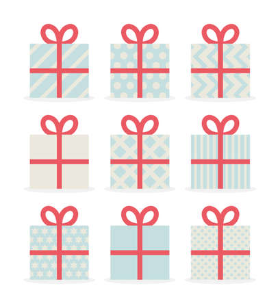 Gifts set icons, flat style