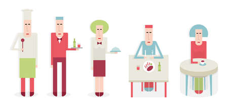 restaurant staff: Five people in a restaurant, staff and customers cartoon illustration, flat style Illustration