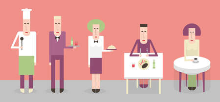 Employees and guests in the restaurant, cartoon illustration flat style