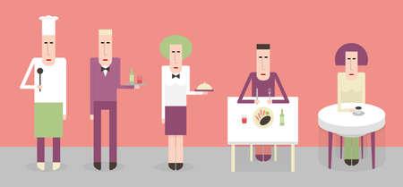 guests: Los empleados y los clientes en el restaurante, ilustraci�n de dibujos animados de estilo plano
