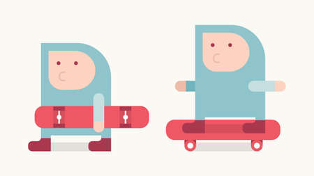 Boy in blue hood with skateboard, simple illustration flat style Vector