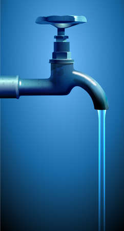 Water flows from an old tap, vector illustration on a blue background