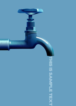 Old water tap, vector illustration on a blue background with place for your text
