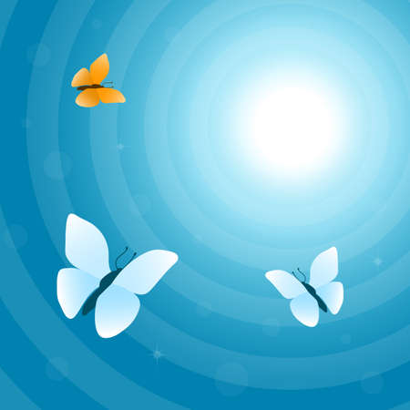 flit: Flying butterflies in the sky, vector illustration in blue tone