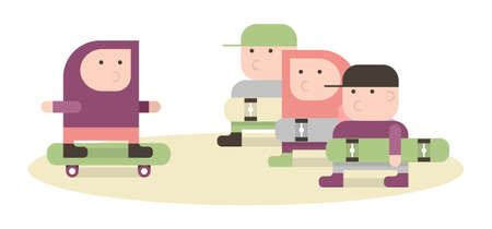 Boys with a skateboards, simple vector illustration in pastel colors, flat style