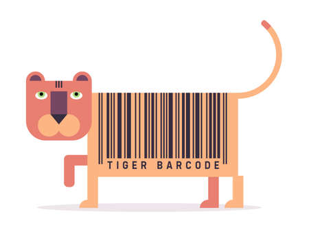simple store: Tiger with barcode, simple vector illustration, flat style Illustration