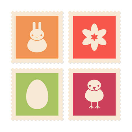 postage stamps: Postage stamps with Easter and spring symbols, vector icons