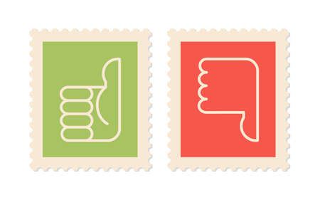 two thumbs up: Postage stamps with symbols thumbs up, thumbs down, two vector icons