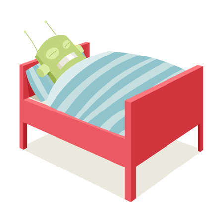 cartoon sick: Robot sleeping in bed, sick robot, vector cartoon illustration