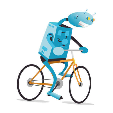 bike vector: Robot est� montando la moto naranja, ilustraci�n de dibujos animados de vectores