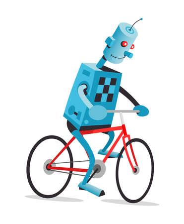 bike vector: Robot est� montando la moto roja, ilustraci�n de dibujos animados de vectores