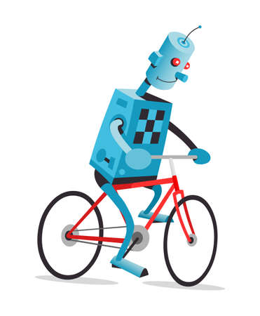 activity cartoon: Robot is riding the red bike, vector cartoon illustration