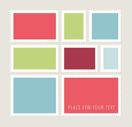 sello: Ocho coloridos sellos postales en blanco, plantillas vector con el lugar para sus imágenes y texto