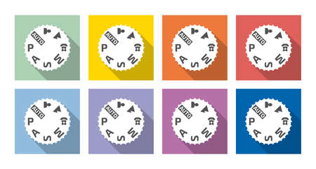 Set of eight camera mode dial, camera settings, vector icons, flat style