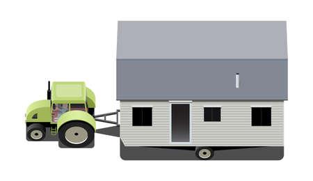 mobilhome: Tracteur transportant une maison mobile, illustration vectorielle Illustration