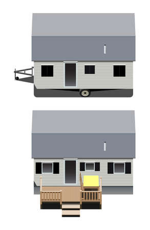 Mobile home, two vector illustration