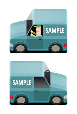 transport of goods: Blue van to transport goods, vector cartoon illustration with place for your text