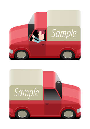 transport of goods: Red pickup to transport goods, vector cartoon illustration with place for your text