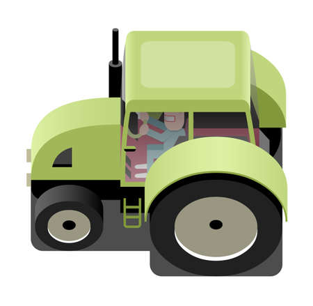 agricultural machinery: Green tractor, agricultural machinery, vector cartoon illustration Illustration