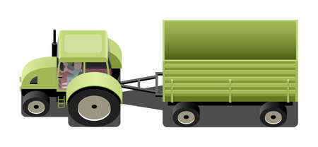 agricultural machinery: Green tractor with trailer, agricultural machinery, vector cartoon illustration