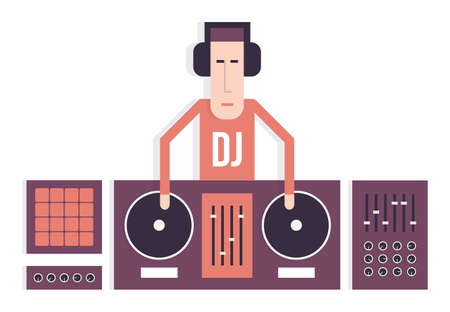 soundsystem: DJ and his equipment, dance music, flat design, isolated vector cartoon illustration Illustration