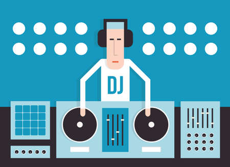 soundsystem: DJ and his equipment, dance music, flat design, vector cartoon illustration on a blue background Illustration