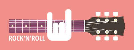obscene: Rocknroll, rock guitar neck, obscene gesture guitarist, vector illustration, flat style