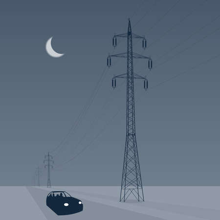 powerline: Car drives through the snowy landscape under high voltage pylons, vector illustration Illustration