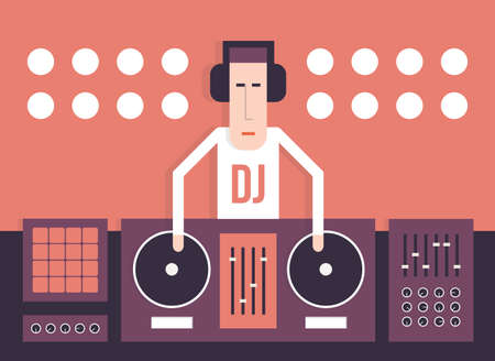 music dj: DJ and his equipment dance music style flat image vector cartoon illustration on a red background