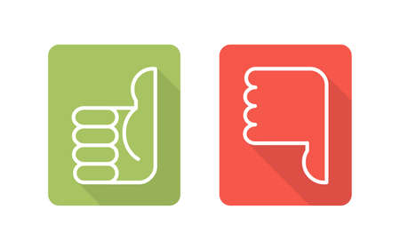 Labels with symbols thumbs up thumbs down two vector icons Vektorové ilustrace