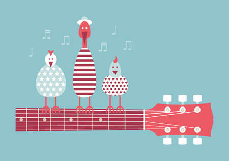 Birds singing on the guitar neck cartoon vector illustration design flat blue background Illustration