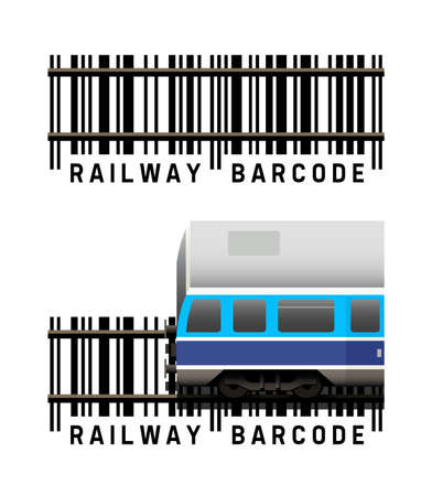 Railway train as with a barcode vector illustration on white background