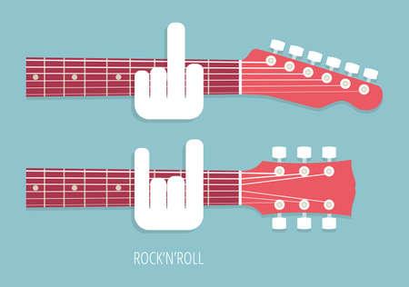 gitara: RocknRoll gitar obsceniczne gesty Gitarzyści stylu mieszkania ilustracji wektorowych