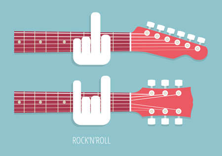 guitarists: Rocknroll guitar necks obscene gestures Guitarists vector illustration style flat