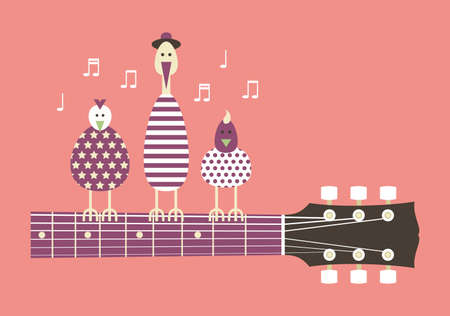 cartoon singing: Birds sing to the guitar neck cartoon vector illustration flat design