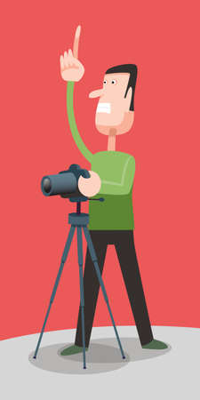 Photographer at work with a tripod, vector cartoon illustration,