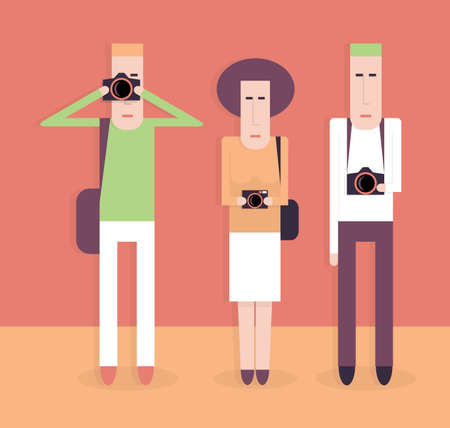 the photographer: Three people with cameras, group of photographers, cartoon vector illustration on red, flat style
