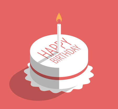 Birthday cake with candle, vector illustration on red, flat design Illustration