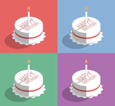 Birthday cake with candle, vector illustration in four colors, flat design