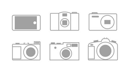 Set of black and white vector icons with photographic equipment, flat design
