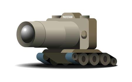 Phototank, vector cartoon illustration, isolated on white