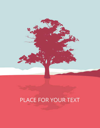 Maple, lonely tree in the countryside, vector illustration with place for your text, in red and blue