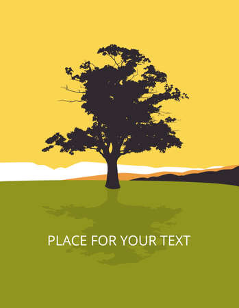 Maple, lonely tree in the landscape, vector illustration with place for your text, in yellow and green