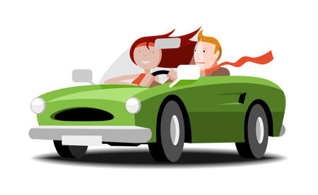 Man and woman going cabriolet, vector cartoon illustration
