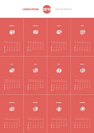 Calendar 2016 year, vector design template, in red Illustration